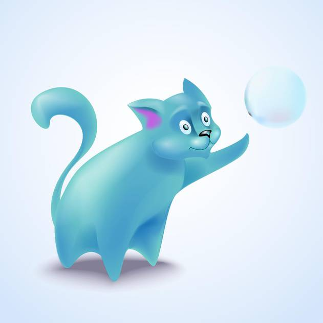 vector illustration of cute blue cat with bubble - vector #130712 gratis