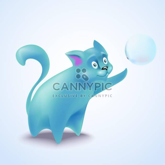 vector illustration of cute blue cat with bubble - Free vector #130712