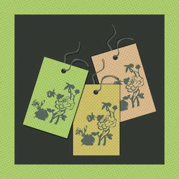 vector illustration of paper floral tags - vector #130732 gratis