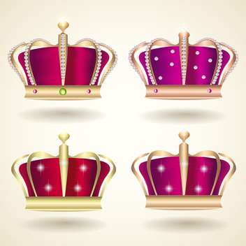 vector collection of red and violet crowns on beige background - vector gratuit #130782