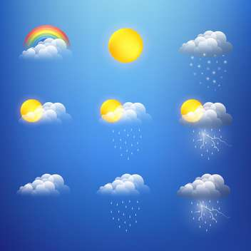 Vector weather icons collection on blue background - vector gratuit #130812