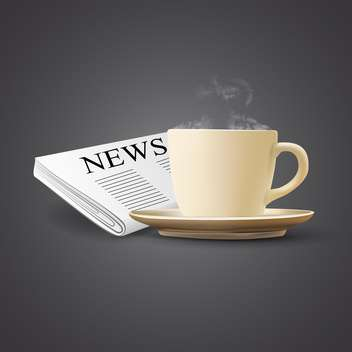 vector illustration of coffee cup and newspaper on grey background - vector gratuit #130822