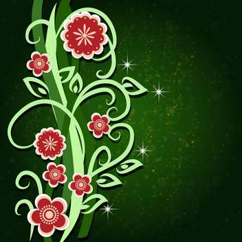 Greeting card with flowers vector illustration - Free vector #130882