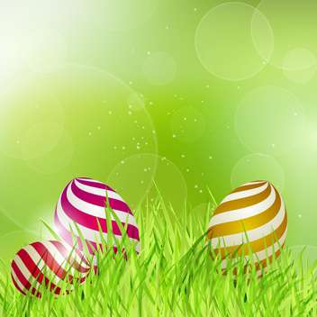 Easter eggs on green grass vector illustration - Free vector #130902