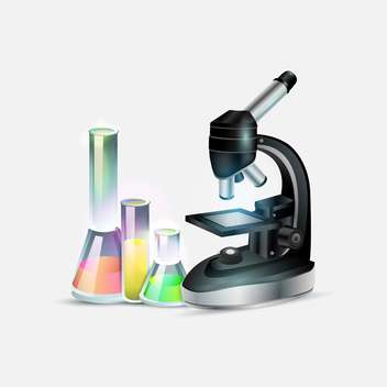 Scientific laboratory equipment: microscope and laboratory bottles - vector gratuit #131092