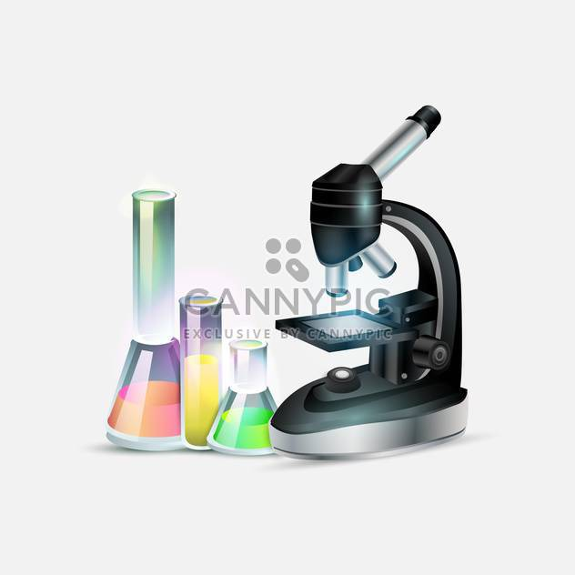 Scientific laboratory equipment: microscope and laboratory bottles - Free vector #131092