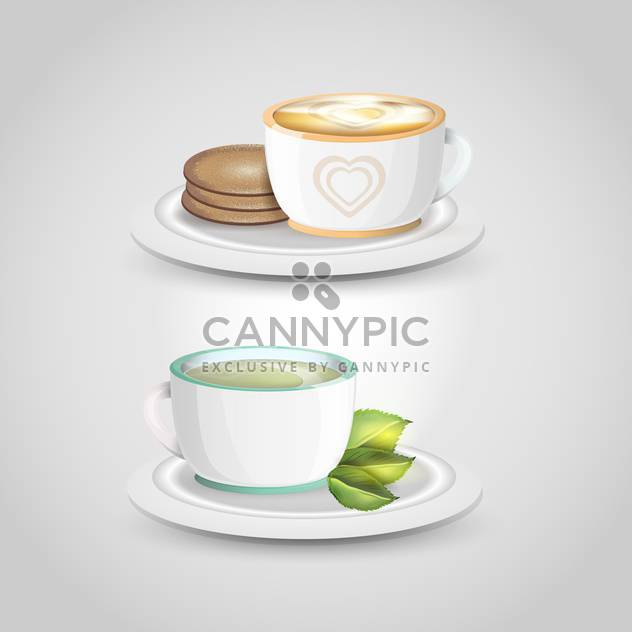 Two vector cups of tea on light grey background - Free vector #131102