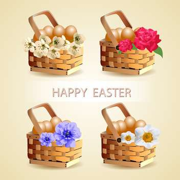 Easter eggs in basket with spring flowers decoration - Kostenloses vector #131122