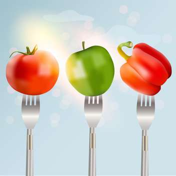 Pepper, tomato and apple on forks concept of diet vector illustration - бесплатный vector #131132