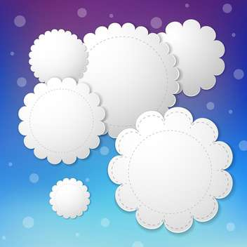 Vector paper clouds on blue sky background - vector gratuit #131172