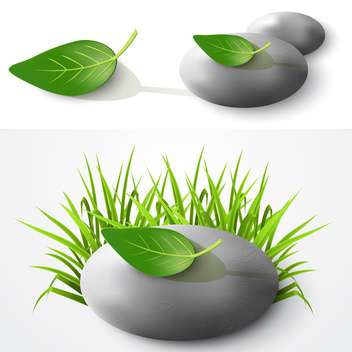 Stones and leaves vector illustration - Free vector #131282