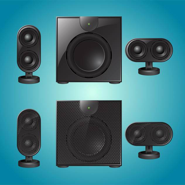 Vector audio speakers illustration on blue background - Free vector #131442