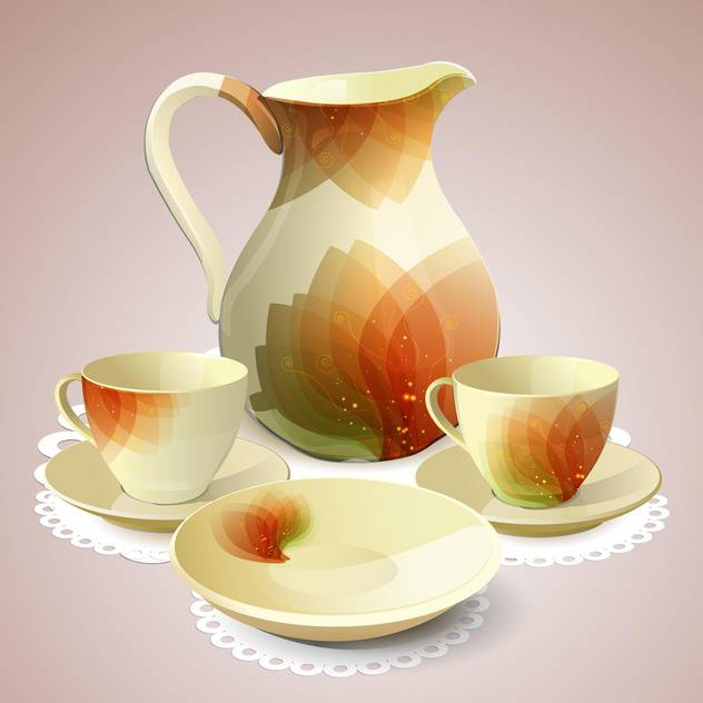 Tea set with tea pot and cups - vector #131512 gratis