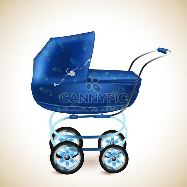 Blue baby buggy on light background - Free vector #131582