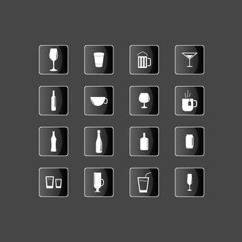 Drink icons set on black background - vector gratuit #131622