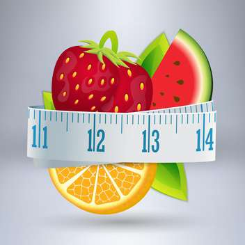 Vector illustration of fruits with measuring tape - vector gratuit #131732