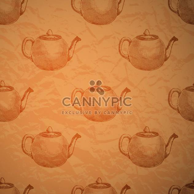 Vintage seamless background with kettles - Free vector #131782