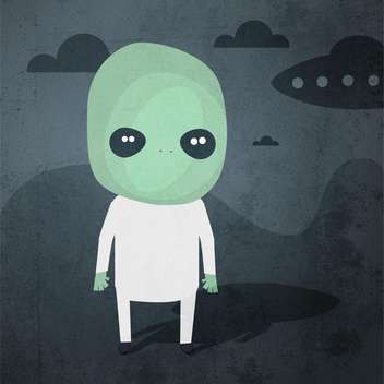 Vector grunge background with alien - Free vector #131792