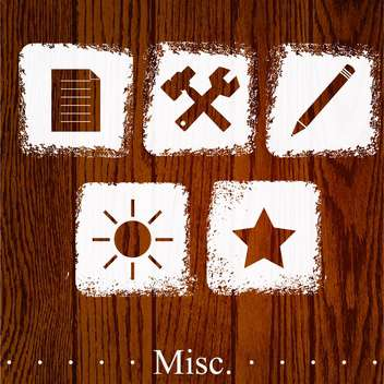 Vector set of misc icons on wooden background - vector #131812 gratis