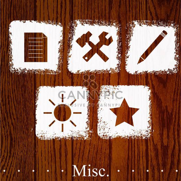 Vector set of misc icons on wooden background - Free vector #131812