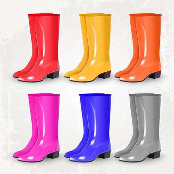 Colored rubber boots vector set - vector gratuit #131872
