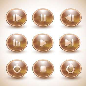 Set of vector brown media player buttons - vector gratuit #131962