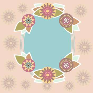 Blue vector frame on floral background - vector gratuit #132082