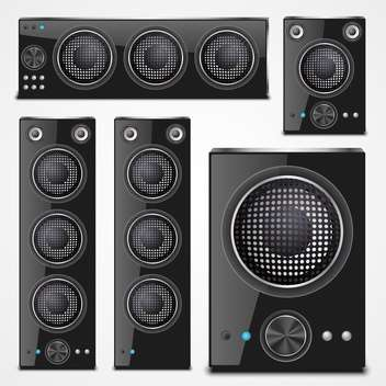 Sound speaker set on a white background - vector #132192 gratis
