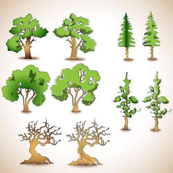 set of green and dry trees,vector illustration - vector gratuit #132282