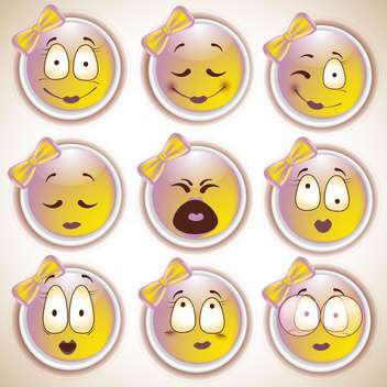 Set of characters of yellow emoticons,vector illustration - vector gratuit #132292