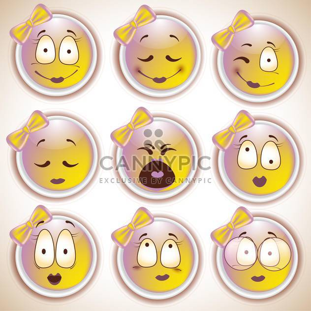 Set of characters of yellow emoticons,vector illustration - Free vector #132292