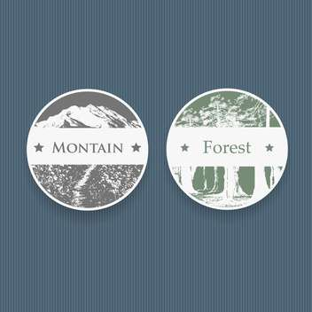 vintage style labels for mountain and forest,vector illustration - vector #132312 gratis