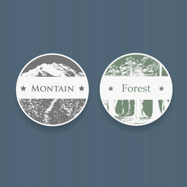vintage style labels for mountain and forest,vector illustration - vector gratuit #132312