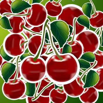 sweet ripe cherries background - vector gratuit #132512