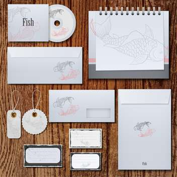 corporate identity fish labels set - vector gratuit #132562
