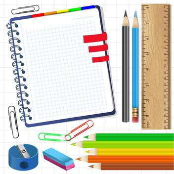 school items and stationery supplies illustration - vector #132592 gratis