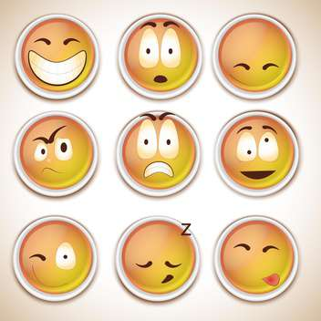 set of funny characters smiles - vector gratuit #132672