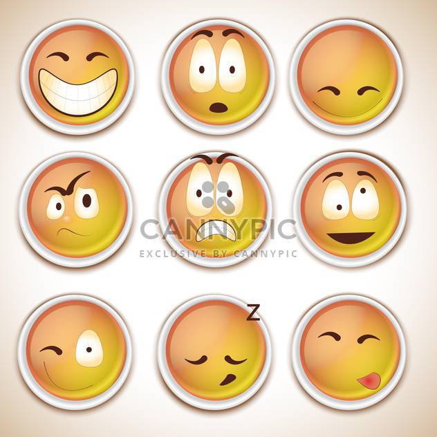 set of funny characters smiles - Free vector #132672