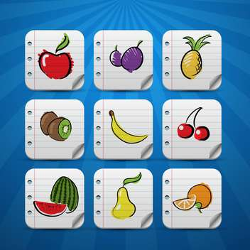 set of fruits vector icons - vector gratuit #132722