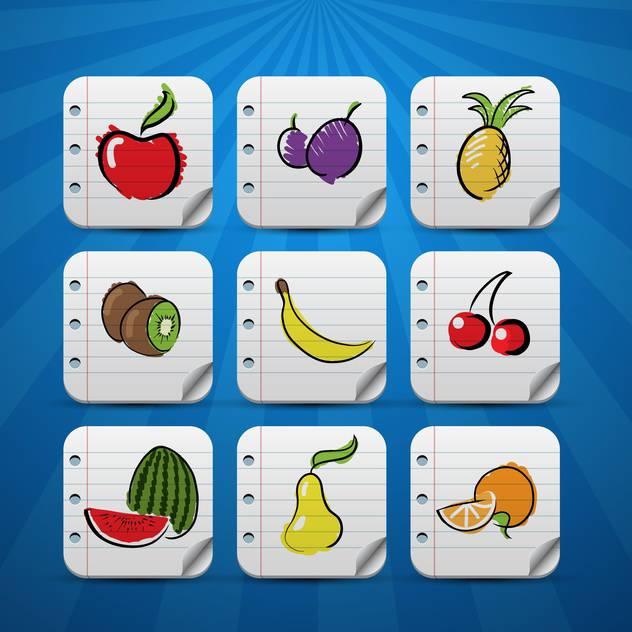 set of fruits vector icons - бесплатный vector #132722