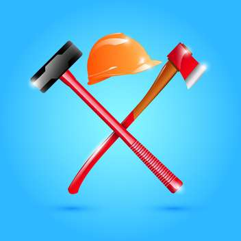 Helmet, hammer and axe illustration - Free vector #132882