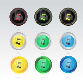 music note buttons set - vector gratuit #132922