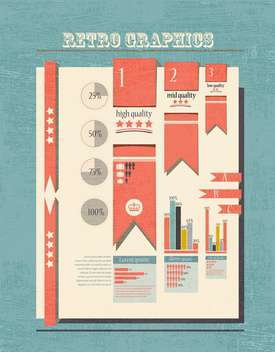 retro progress infographic set background - vector #132952 gratis