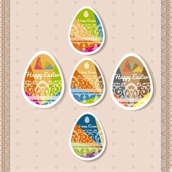 happy easter holiday card with eggs - vector gratuit #133102