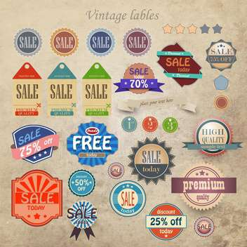 vintage discount and high quality labels - vector #133152 gratis
