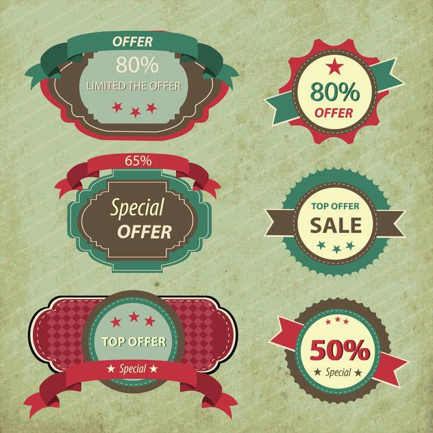 retro discount shopping signs - vector gratuit #133182