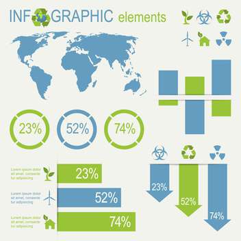 ecology infographics collection with charts - vector gratuit #133522