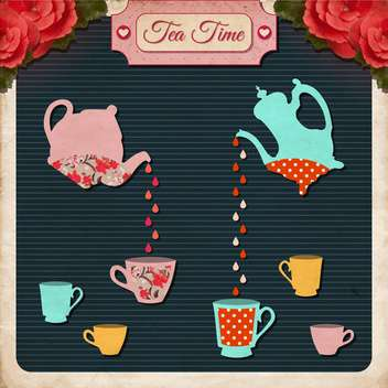 afternoon tea time vector background - vector gratuit #133552