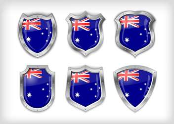 uk flag on vector shield set background - vector gratuit #133592