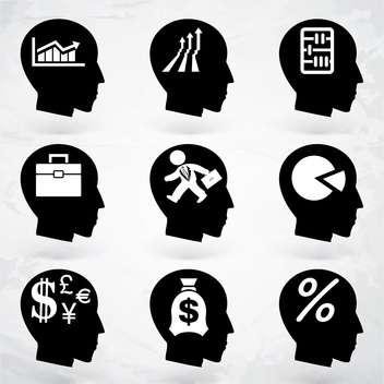 head with business brain labels set - Free vector #133652